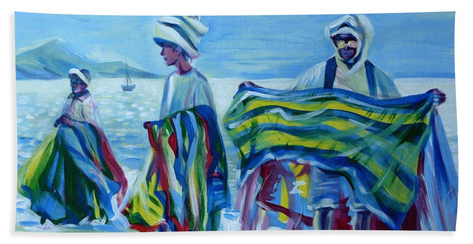 Tropical Bath Sheet featuring the painting Panama.beach Market by Anna Duyunova