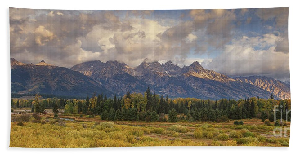 North America Bath Sheet featuring the photograph Panaroma Clearing Storm On A Fall Morning In Grand Tetons National Park by Dave Welling