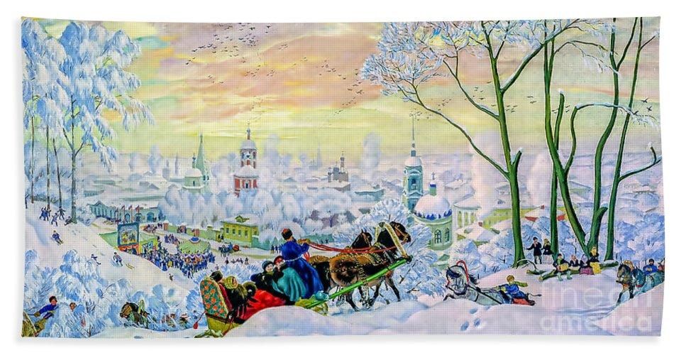 People. Snow Hand Towel featuring the painting Pancake Week by Viktor Birkus