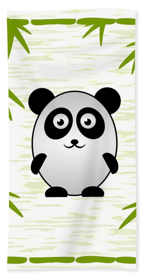 Panda Hand Towel featuring the digital art Panda - Animals - Art For Kids by Anastasiya Malakhova