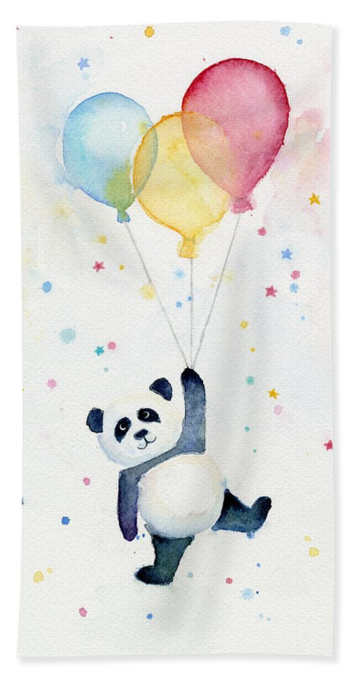 Panda Bath Towel featuring the painting Panda Floating With Balloons by Olga Shvartsur