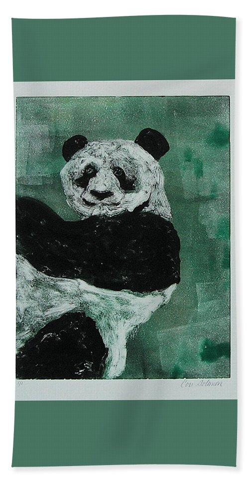 Panda Hand Towel featuring the mixed media Panda - Monium by Cori Solomon