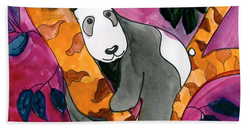 Panda Bath Sheet featuring the painting Panda by Roxanne Hanson Age Eleven