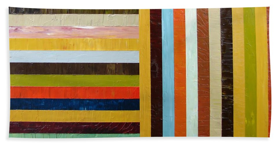 Original Art Bath Sheet featuring the painting Panel Abstract L by Michelle Calkins