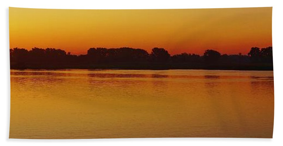 Detroit River Hand Towel featuring the photograph Pano Dawn Aug. 3 2013 by Daniel Thompson