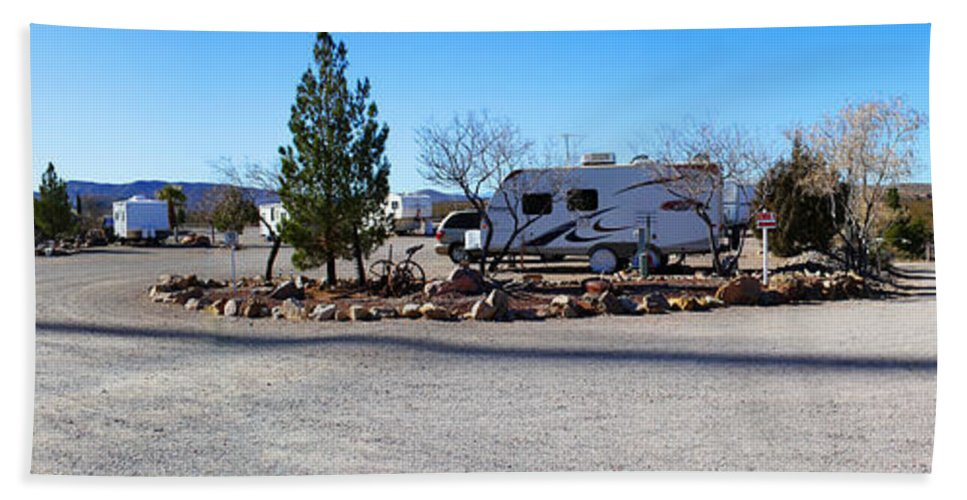 Roena King Hand Towel featuring the photograph Panorama Cedar Cove Rv Park Street 2 by Roena King