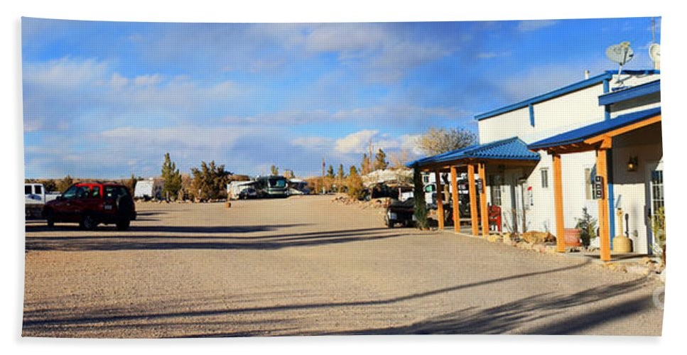 Roena King Hand Towel featuring the photograph Panorama Cedar Cove Rv Park Street 3 by Roena King