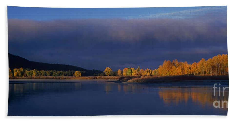 North America Hand Towel featuring the photograph Panorama Clearing Storm Oxbow Bend Grand Tetons National Park Wyoming by Dave Welling