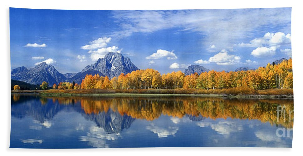 America Bath Sheet featuring the photograph Panorama Fall Morning At Oxbow Bend Grand Tetons National Park by Dave Welling