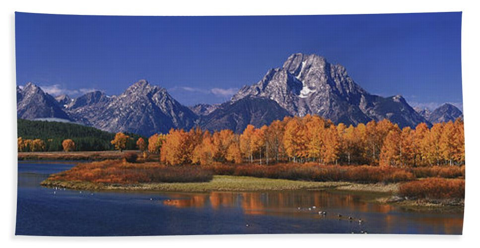 Grand Tetons National Park Hand Towel featuring the photograph Panorama Fall Morning Oxbow Bend Grand Tetons National Park Wyoming by Dave Welling