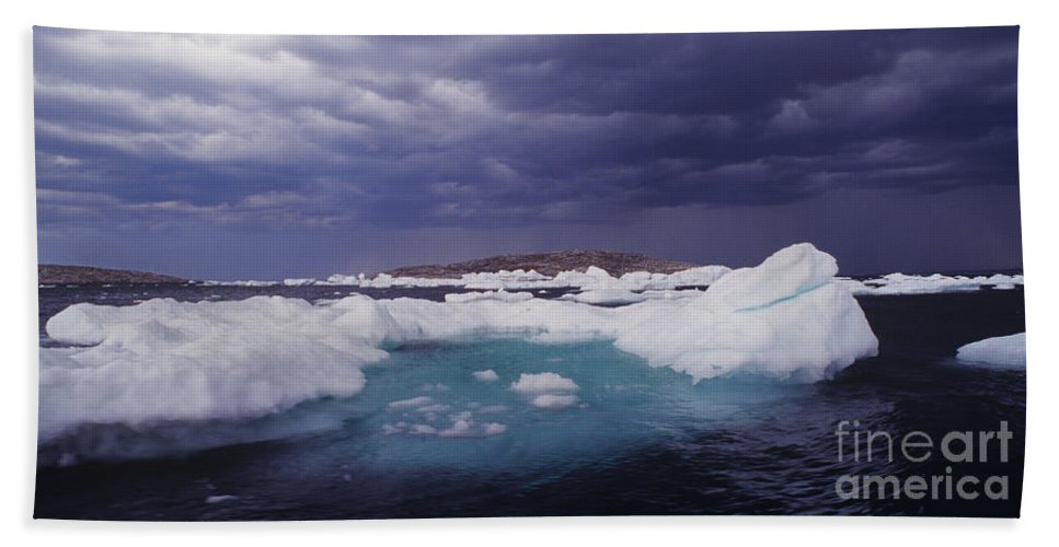 North America Hand Towel featuring the photograph Panorama Ice Floes In A Stormy Sea Wager Bay Canada by Dave Welling