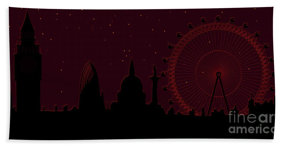 London Bath Towel featuring the digital art panorama of London by Michal Boubin