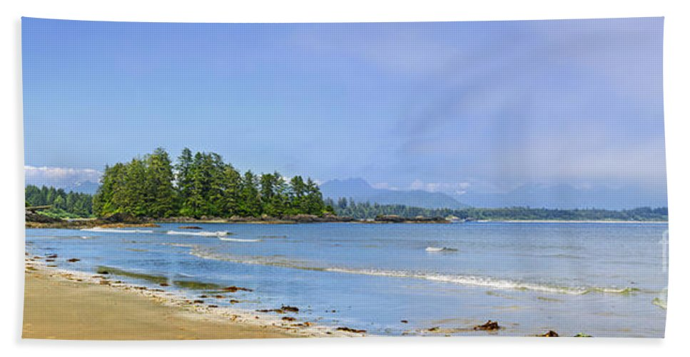 Pacific Bath Sheet featuring the photograph Panorama Of Pacific Coast On Vancouver Island by Elena Elisseeva