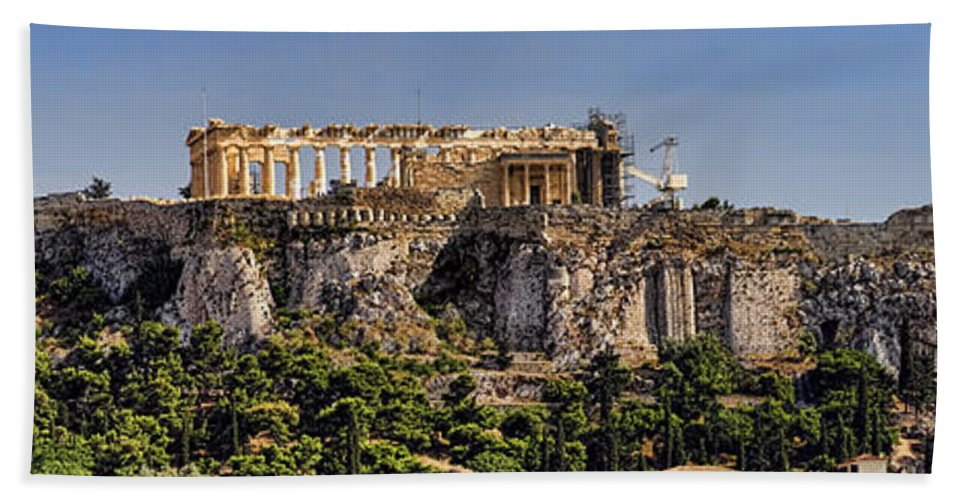 Athens Bath Sheet featuring the photograph Panorama Of The Acropolis In Athens by David Smith