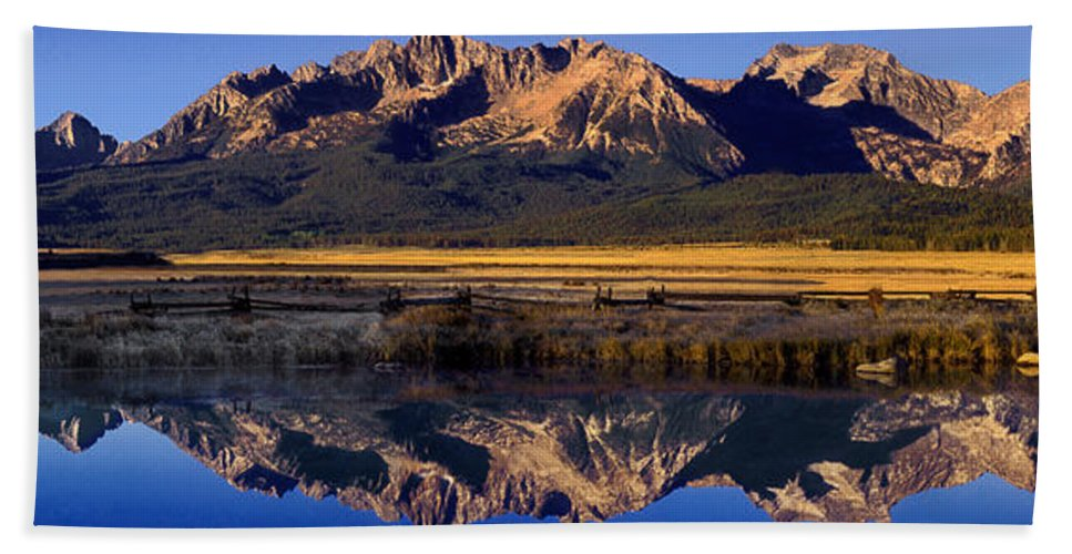 North America Bath Sheet featuring the photograph Panorama Reflections Sawtooth Mountains Nra Idaho by Dave Welling