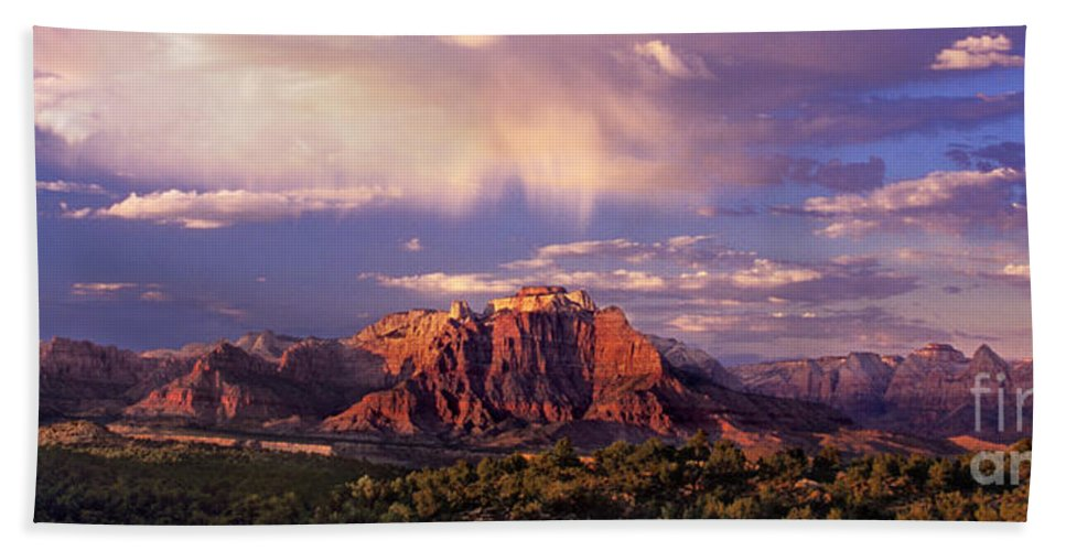 North America Bath Towel featuring the photograph Panorama West Temple At Sunset Zion Natonal Park by Dave Welling