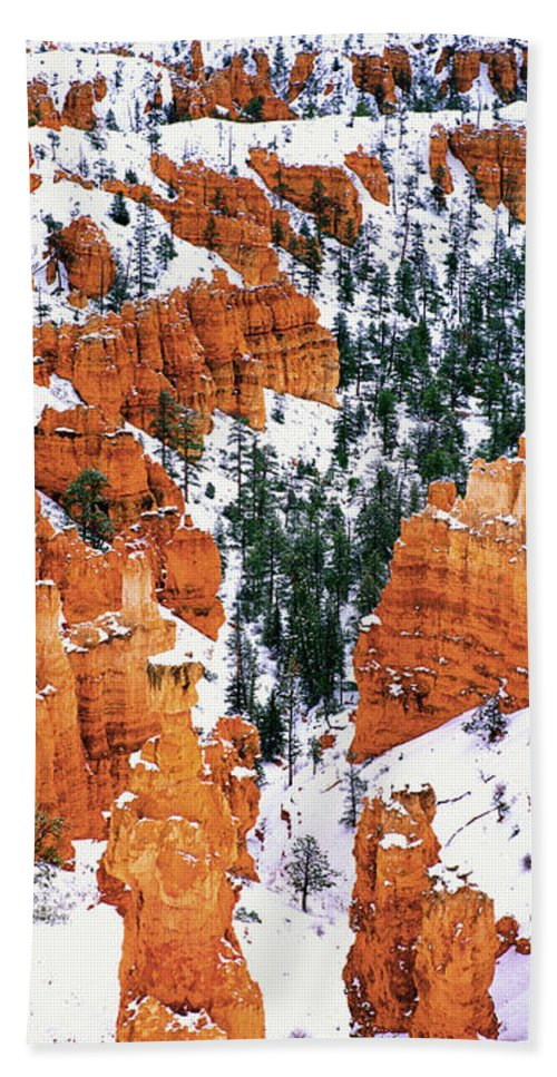 North America Hand Towel featuring the photograph Panorama Winter Storm Blankets Thors Hammer And Bryce Canyon by Dave Welling