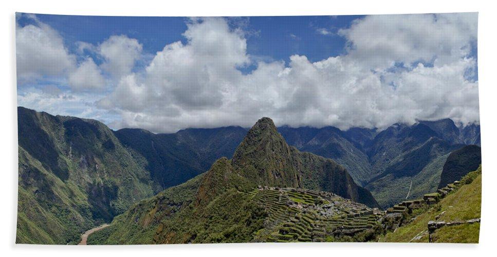 Urubamba Valley Hand Towel featuring the photograph Panoramic Machu Picchu by Brian Kamprath