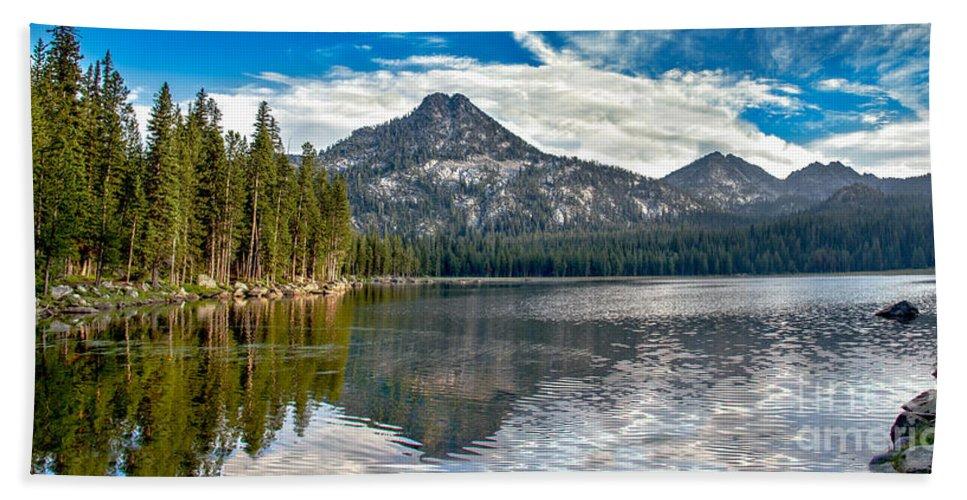 Wallowa Mountains Bath Sheet featuring the photograph Panoramic Of Anthony Lake by Robert Bales