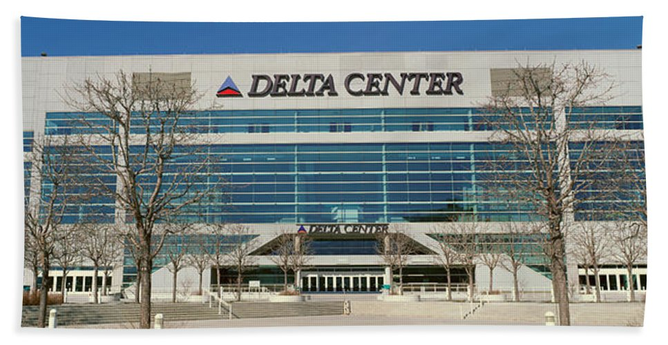 Photography Hand Towel featuring the photograph Panoramic Of Delta Center Building by Panoramic Images