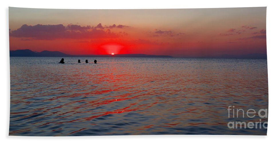 Sunset Hand Towel featuring the photograph Panoramic Summer Sunset by Grigorios Moraitis