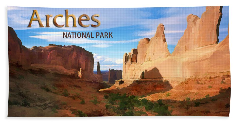 Mountains Rocky Rocks Desert National+park Park Arches+national+park Arches Utah Southwest Rugged Terrain Hand Towel featuring the painting Panoramic View Of Arches National Park by Elaine Plesser