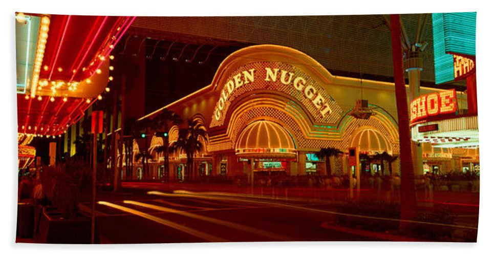 Photography Bath Sheet featuring the photograph Panoramic View Of Golden Nugget Casino by Panoramic Images