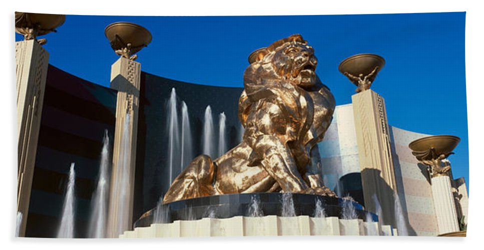 Photography Hand Towel featuring the photograph Panoramic View Of Mgm Lion And Mgm by Panoramic Images