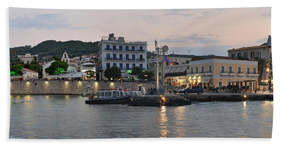 Spetses; Greece; Greek; Hellas; Argosaronic; Saronic; Gulf; Town; City; Chora; Ntapia Hand Towel featuring the photograph Panoramic View Of Spetses Town by George Atsametakis