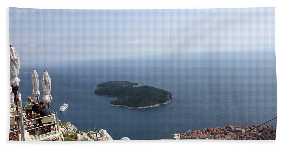 Dubrovnik Bath Sheet featuring the photograph Panoramo Restaurant by David Nicholls