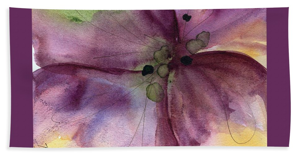 Watercolor Hand Towel featuring the painting Pansy 3 by Dawn Derman