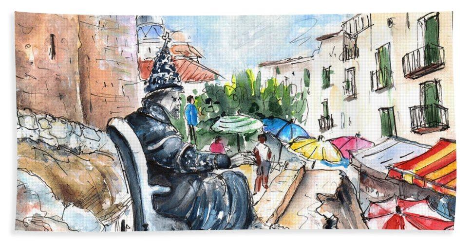 Travel Bath Sheet featuring the painting Papa Luna In Peniscola by Miki De Goodaboom