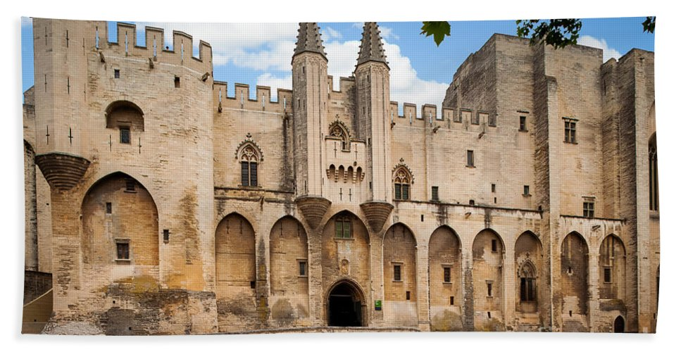 Avignon Bath Sheet featuring the photograph Papal Castle In Avignon by Inge Johnsson