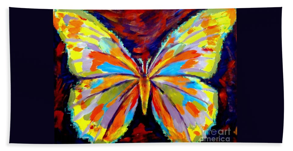 Colorful Butterflies Hand Towel featuring the painting Papillon Colore by Helena Wierzbicki