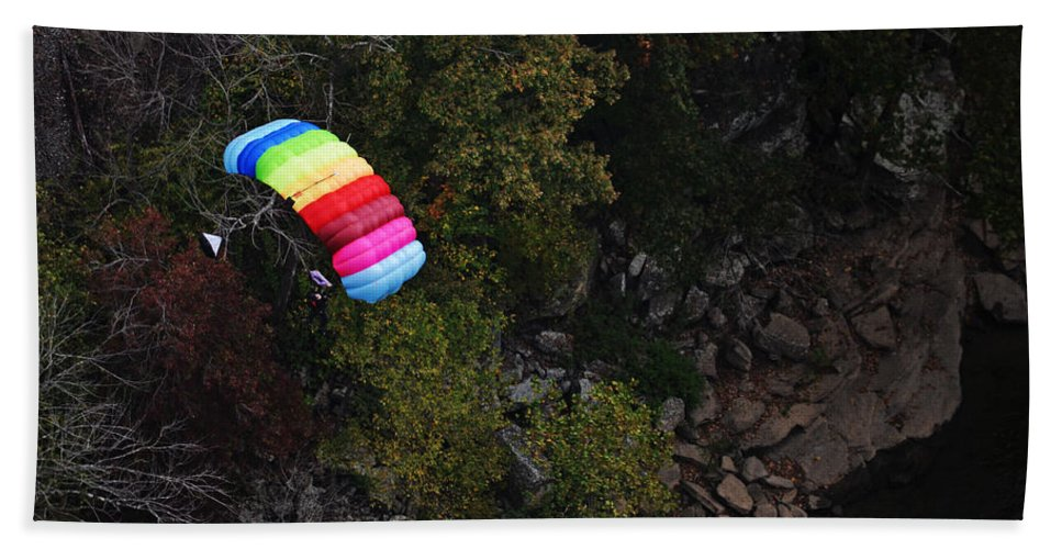 Parachute Hand Towel featuring the photograph Parachute by Lj Lambert