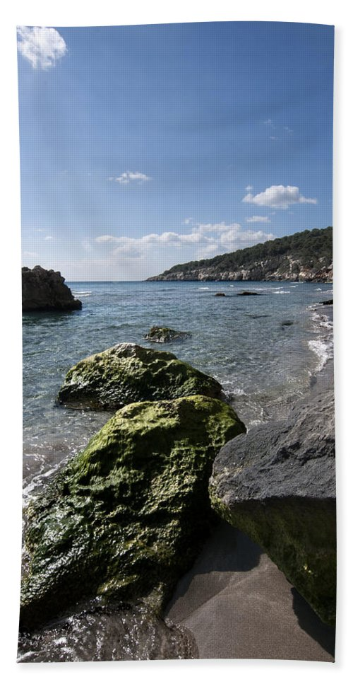 Background Hand Towel featuring the photograph Binigaus Beach In South Coast Of Minorca Island Europe - Paradise Is Not Far Away by Pedro Cardona Llambias