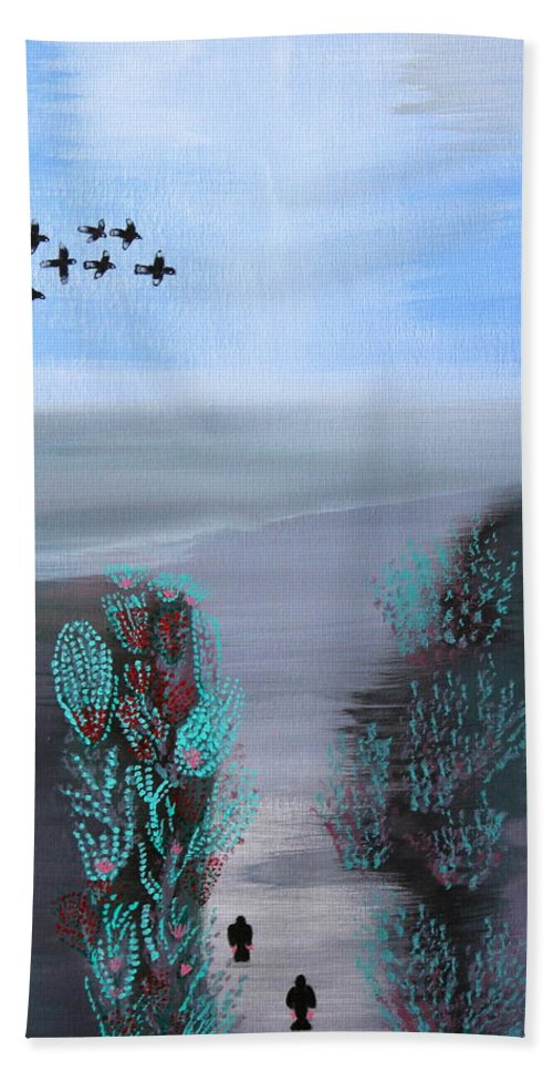 Abstract Hand Towel featuring the painting Paradise by Lorna Maza