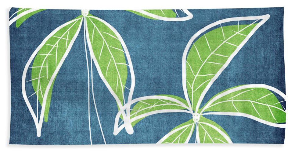 Palm Trees Hand Towel featuring the painting Paradise Palm Trees by Linda Woods