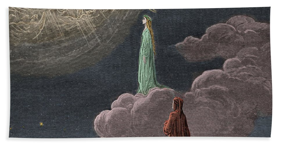 Gustave Dore Hand Towel featuring the painting Paradiso Canto Fourteen by Gustave Dore