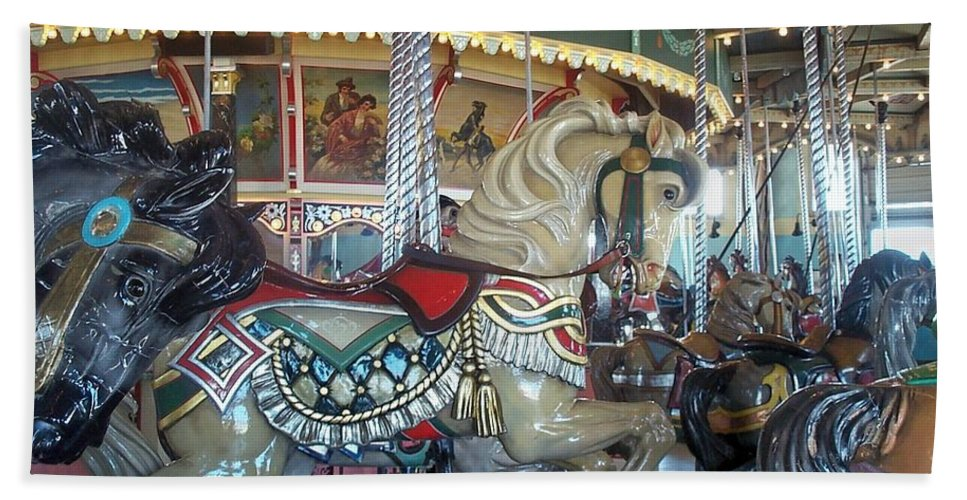 Carousel Bath Sheet featuring the photograph Paragon Carousel Nantasket Beach by Barbara McDevitt