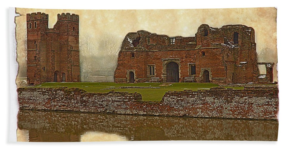 Linsey Williams Photography Hand Towel featuring the photograph Parchment Texture Kirby Muxloe Castle by Linsey Williams