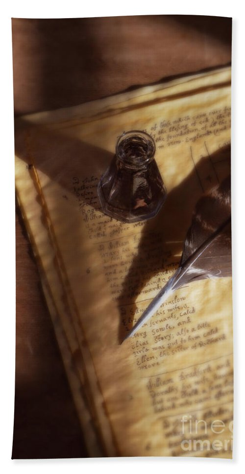 Vintage Hand Towel featuring the photograph Parchment With Ink And Quill Pen by Jill Battaglia