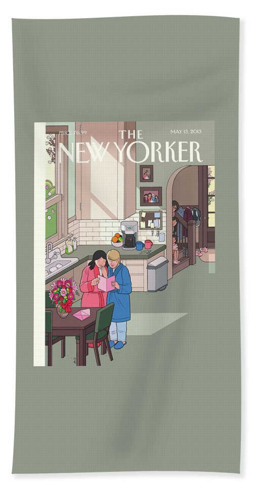 Women Bath Sheet featuring the painting Mothers' Day by Chris Ware