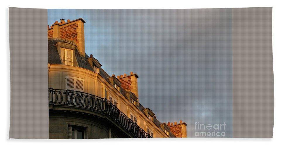 Paris Hand Towel featuring the photograph Paris At Sunset by Ann Horn