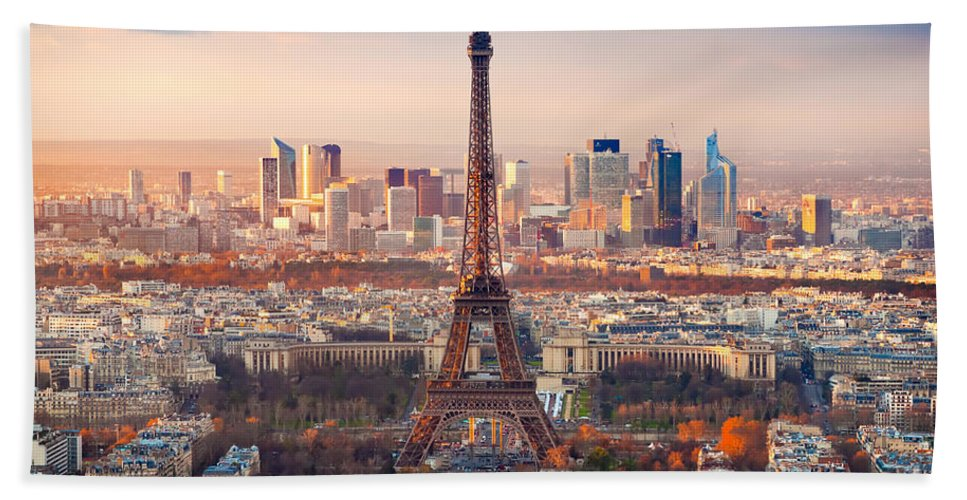 Aerial Hand Towel featuring the photograph Paris At Sunset by Luciano Mortula
