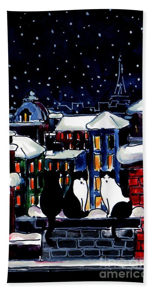 Paris Cats Bath Towel featuring the painting Paris Cats by Mona Edulesco