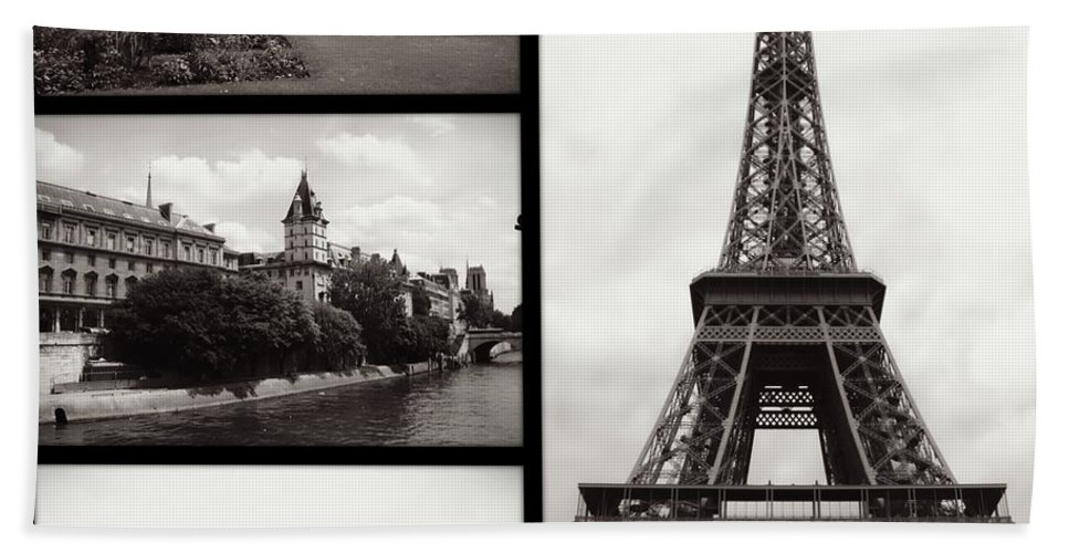 Paris Hand Towel featuring the photograph Paris Collage - Black And White by Carol Groenen