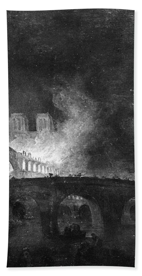 1773 Bath Sheet featuring the painting Paris, France Fire, 1773 by Granger
