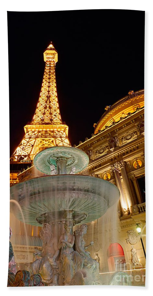 Paris Bath Sheet featuring the photograph Paris Hotel And Casino In Las Vegas by Jamie Pham