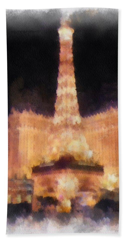 Eiffel Tower Paris Las Vegas Hand Towel featuring the photograph Paris Las Vegas Photo Art by Thomas Woolworth